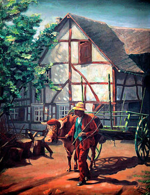 The Ox Cart Art Print by Hanne Lore Koehler