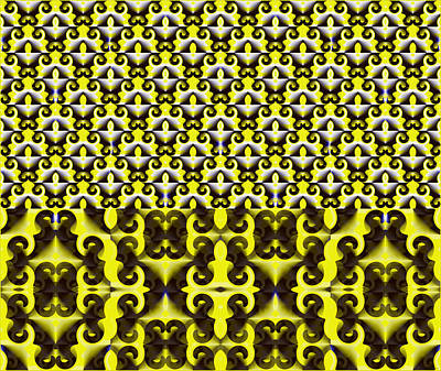 Digital Art - The Pack Of Cards - Yellow Abstract by Gillian Owen