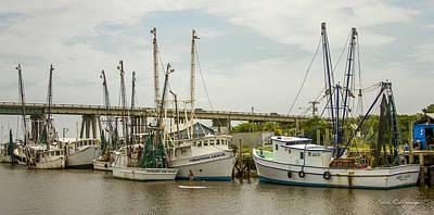 The Paddler Tybee Island Shrimp Boats Art Print by Reid Callaway