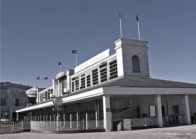 Horse In The Run Photograph - The Paddock At Churchill Downs In Black And White by Marian Bell