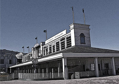 Tourist Attraction Digital Art - The Paddock At Churchill Downs In Black And White - With Poster Edges by Marian Bell
