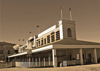 Horse In The Run Digital Art - The Paddock At Churchill Downs In Sepia Tones by Marian Bell