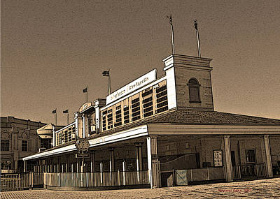 Tourist Attraction Digital Art - The Paddock At Churchill Downs In Sepia Tones - With Poster Edges by Marian Bell