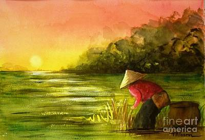 The Paddy Field Art Print by Therese Alcorn