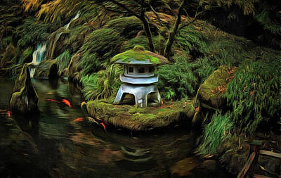 Photograph - Pagoda And Koi by Thom Zehrfeld