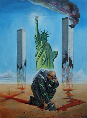 Twin Towers Painting - The Pain Holder II by Darwin Leon