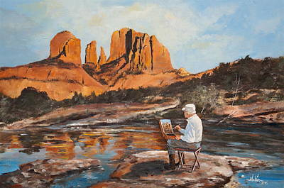 Cathedral Rock Painting - The Painter Woods by Alan Lakin