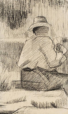 Artist At Work Drawing - The Painter And His Palette by Georges Pierre Seurat