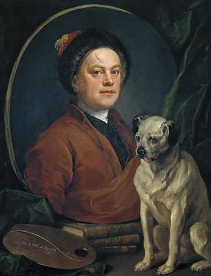 Painter And Dog Painting - The Painter And His Pug by William Hogarth
