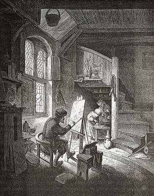 Atelier Drawing - The Painter In His Workshop by Vintage Design Pics