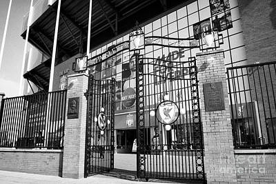 the Paisley gateway at Liverpool FC anfield stadium Liverpool Merseyside UK Art Print by Joe Fox