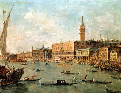 Italian Landscapes Painting - The Palace And The Molo From The Basin Of San Marco by Francesco Guardi