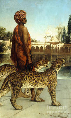 Negro Painting - The Palace Guard With Two Leopards by Jean Joseph Benjamin Constant