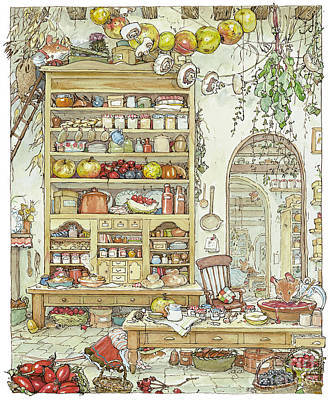 British Drawing - The Palace Kitchen by Brambly Hedge