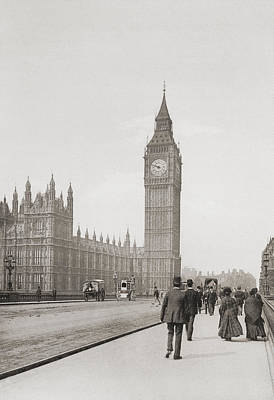 Big Ben Drawing - The Palace Of Westminster, Aka The by Vintage Design Pics