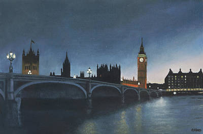 Painting - The Palace Of Westminster London Oil On Canvas by David Rives