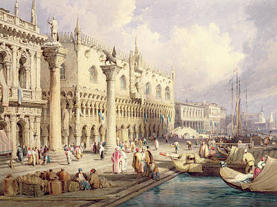 Water Vessels Painting - The Palaces Of Venice by Samuel Prout