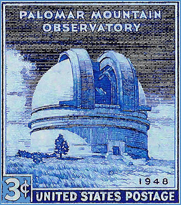 Cosmology Painting - The Palomar Mountain Observatory Stamp by Lanjee Chee