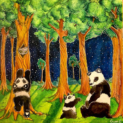 Nightsky Painting - The Panda Forest  by Gwen Craig