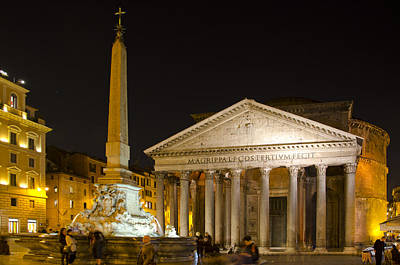 The Pantheon And Piazza Della Rontunda At Night Art Print by Shelley Dennis