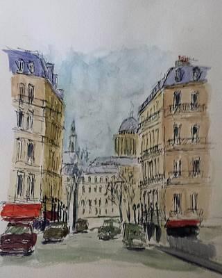 Ile St Louis Drawing - The Pantheon, Paris by Tony Donovan