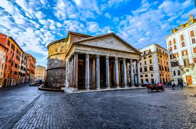 Painting - The Pantheon Rome by David Dehner