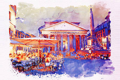 Temple Mixed Media - The Pantheon Rome Watercolor Streetscape by Marian Voicu