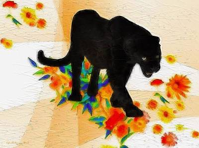 The Panther In The Flowerbed Art Print