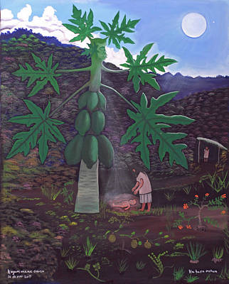 Painting - The Papaya Nourishes Life by Kayum Maax Garcia