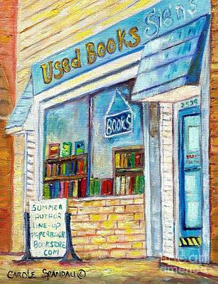 Montreal Painting - The Paperbacks Plus Book Store St Paul Minnesota by Carole Spandau