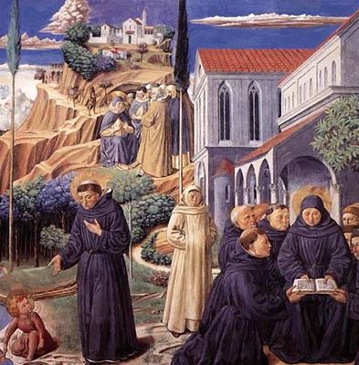 Painting - The Parable Of The Holy Trinity And The Visit To The Monks Of Mount Pisano 1465 by Gozzoli Benozzo