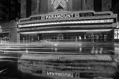 The Paramount On A Rainy Night Boston Ma Reflection Car Trails Black And White Print by Toby McGuire