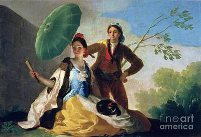 Lovers Painting - The Parasol by Goya