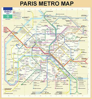 The Paris Metro Map  Art Print by Bill Cannon