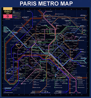 The Paris Metro Map In Blue Art Print by Bill Cannon