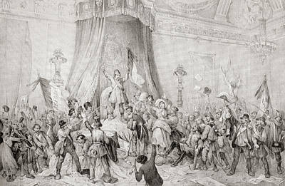 Disorder Drawing - The Paris Revolution Of 1848, The Mob by Vintage Design Pics