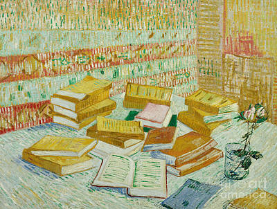 Library Painting - The Parisian Novels Or The Yellow Books by Vincent Van Gogh