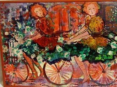 Two Bicycles Painting - The Parisien Cyclists by Norma Malerich