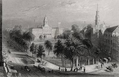 Park Scene Drawing - The Park And City Hall New York Usa by Vintage Design Pics