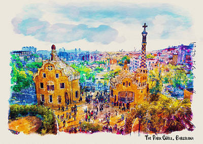 Postcard Mixed Media - Park Guell Barcelona by Marian Voicu