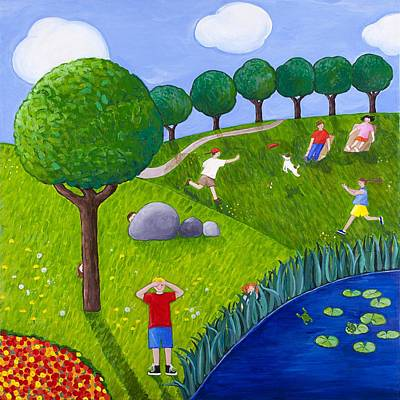 Hide And Seek Painting - The Park Number 2 Of 3 by Barbara Esposito
