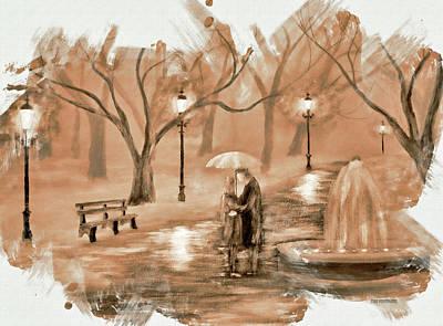 Paris Skyline Mixed Media - The Park Sepia Tone by Ken Figurski