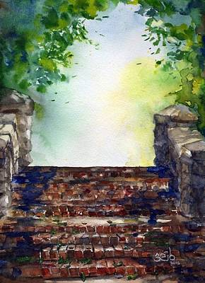 Donny Painting - The Park Stairs by Don Seib