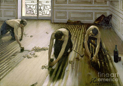 Paris Skyline Royalty-Free and Rights-Managed Images - The Parquet Planers - Gustave Caillebotte by Gustave Caillebotte