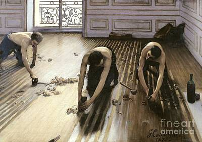 Wine Oil Painting - The Parquet Planers by Gustave Caillebotte