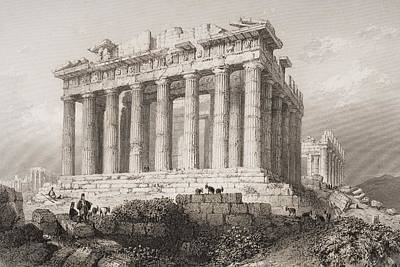 Athens Drawing - The Parthenon At Athens, Greece by Vintage Design Pics