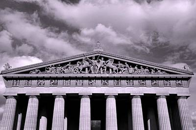 The Parthenon In Nashville Tennessee Black And White Art Print