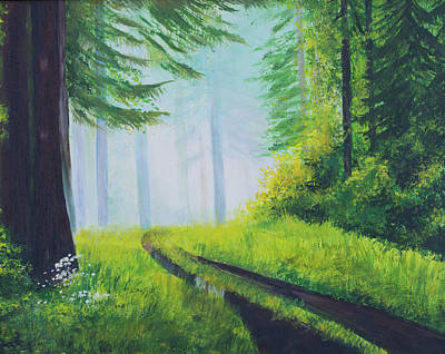 Lush Drawing - The Path In The Woods. Forest In Spring. by Elena Pavlova