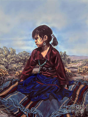 Navajo Children Painting - The Patient Child by Kim Marshall
