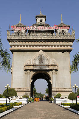 Patuxai Photograph - The Patuxai Arch At Vientiane In Laos by Liz Pinchen